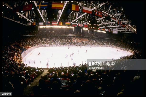 General view of the arena during the gold medal game between the United States and Finland at the Winter Olympics in Lake Placid, New York. The...