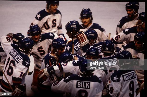 The USA Team celebrates their 43 victory over Russia in the semifinal of the Ice Hockey event at the 1980 Winter Olympic Games in Lake Placid USA The...