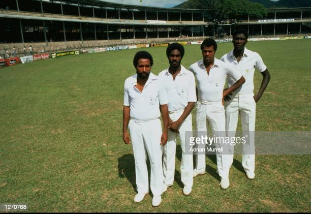 Greatest fast bowling combination ever from Andy Roberts Michael Holding Colin Croft and Joel Garner of the West Indies during the First Test match...