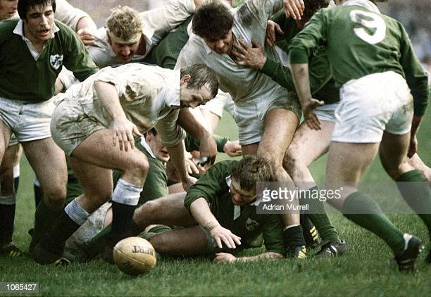 Peter Wheeler of England competes for the ball during the Five Nations Championship match against Ireland played at Twickenham in London Ireland won...