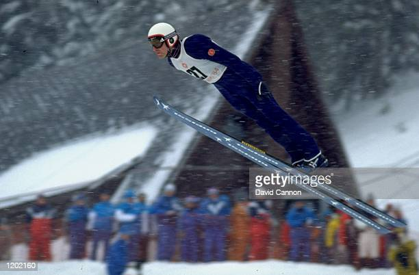 Gunter Schmieder of East Germany in action during the Nordic Combined event at the 1984 Winter Olympic Games in Sarajevo, Yugoslavia. \ Mandatory...