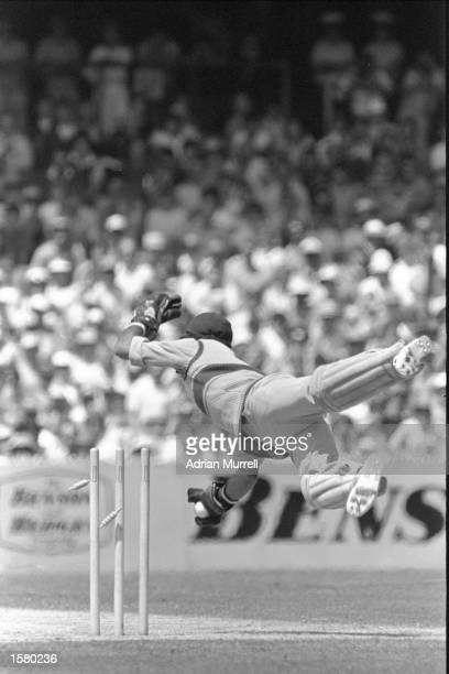 West Indies'' wicketkeeper Jeff Dujon attempts a stumping during the Benson and Hedges World Series final Mandatory Credit Adrian Murrell/Allsport UK