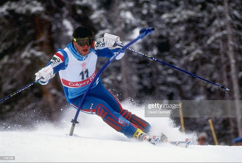 Alberto Tomba of Italy skis downhill during the men''s slalom during the Olympic Games in Calgary, Canada. Mandatory Credit: David Cannon /Allsport