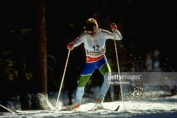 Christa EiluBruegger of Switzerland in action during the 20 kilometres Freestyle Cross Country event at the 1988 Winter Olympic Games in Calgary...