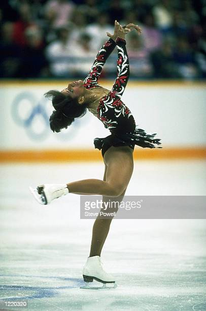 Debra Thomas of the United States in action during the Ladies Figure Skating event during the 1988 Winter Olympic Games held in Calgary Canada Debra...