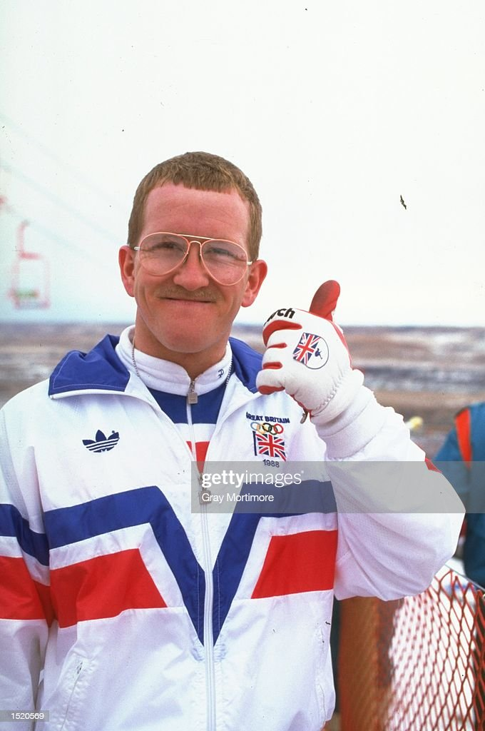 Eddie Edwards of Great Britain gives the thumbs up before the 70 metres Ski Jump event during the 1988 Winter Olympic Games in Calgary, Canada. \ Mandatory Credit: Gray Mortimore/Allsport