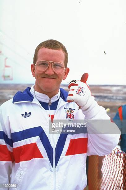 Eddie Edwards of Great Britain gives the thumbs up before the 70 metres Ski Jump event during the 1988 Winter Olympic Games in Calgary, Canada. \...