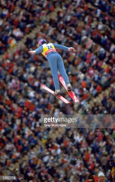 Eddie Edwards of Great Britain in action during the 70 metres Ski Jump event at the 1988 Winter Olympic Games in Calgary, Canada. \ Mandatory Credit:...