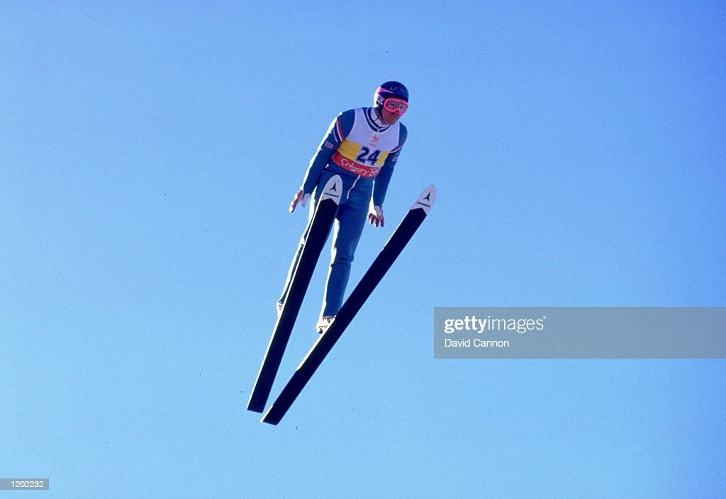 Eddie Edwards of Great Britain in action during the 90 metres Ski Jump event at the 1988 Winter Olympic Games in Calgary, Canada. Edwards finished in 55th place. \ Mandatory Credit: David Cannon/Allsport
