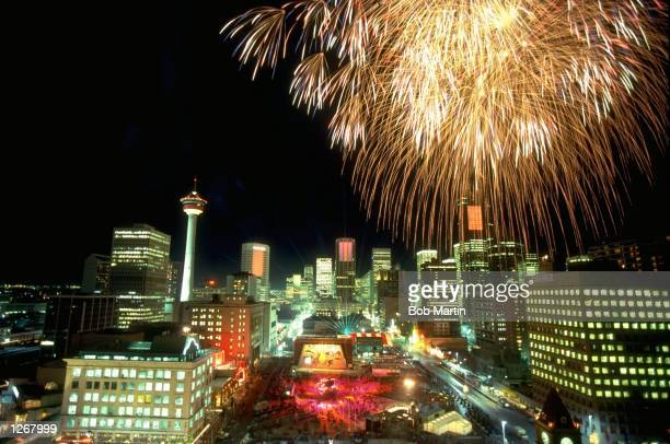 Fireworks explode over Calgary during the Closing Ceremony of the 1988 Winter Olympic Games in Canada Mandatory Credit Bob Martin/Allsport