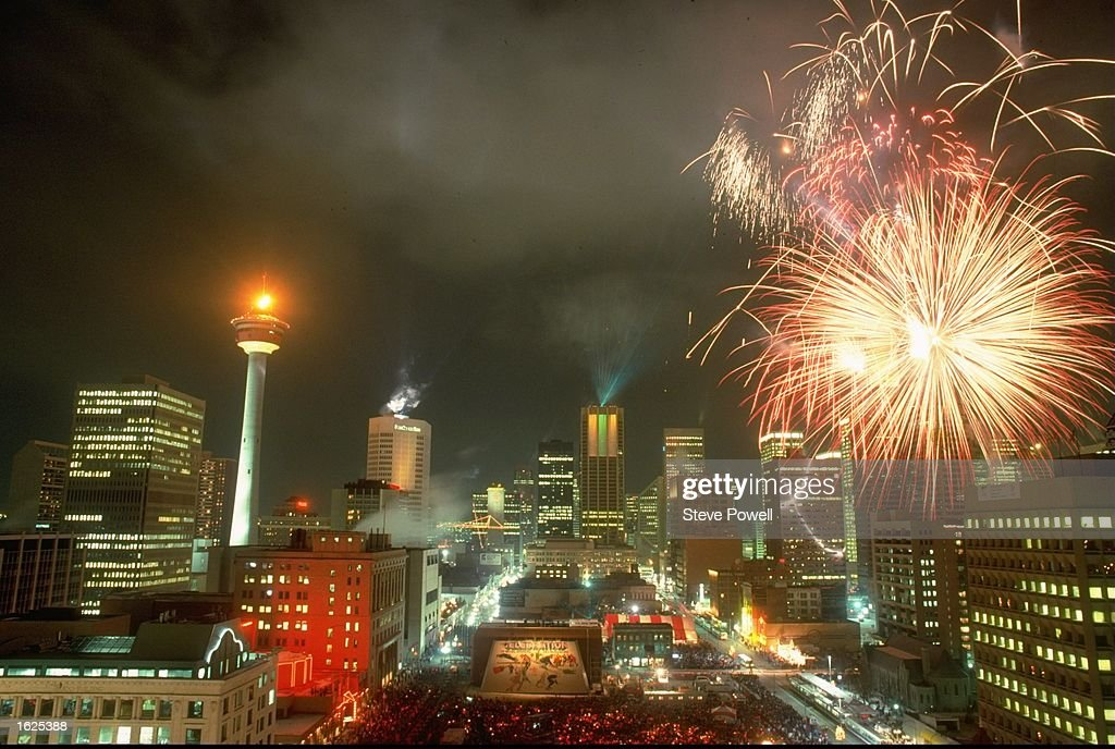 Fireworks explode over the city of Calgary at the closing ceremony of the 1988 Olympic Games in Calgary, Alberta, Canada. \ Mandatory Credit: Steve Powell/Allsport