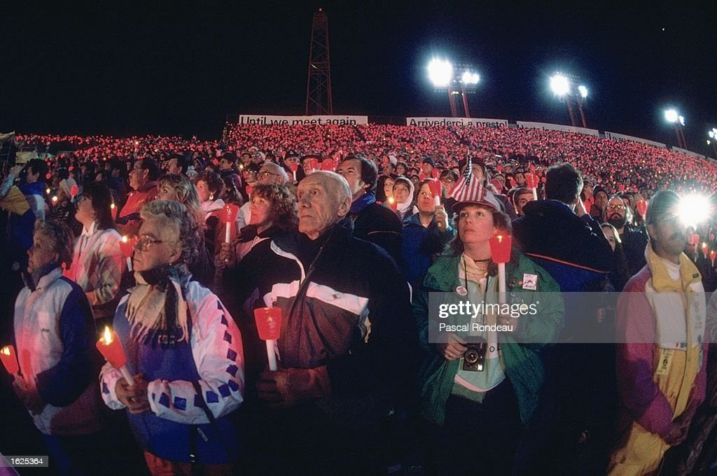 General view of spectators holding candles during the Closing Ceremony of the 1988 Winter Olympic Games in Calgary, Canada. \ Mandatory Credit: Pascal Rondeau/Allsport