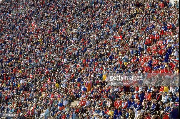 General view of the crowd during the Ski Jump event on the 90 metres hill during the 1988 Winter Olympic Games held in Calgary Canada Mandatory...