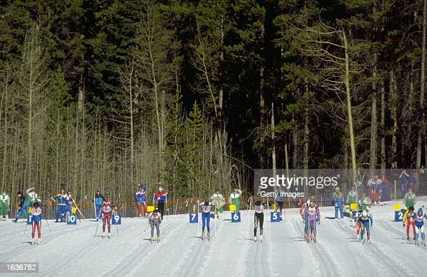 General view of the start of the 4 x 75 kilometres Biathlon event during the 1988 Winter Olympic Games in Calgary Canada Mandatory Credit Allsport UK...
