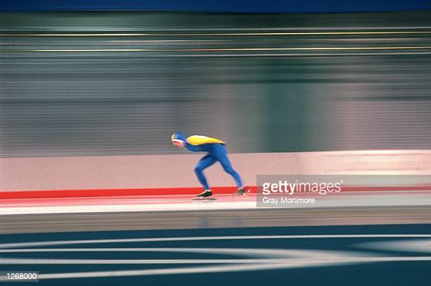 Impression of a speed skater during the mens 10000 metres event at the 1988 Winter Olympic Games in Calgary Canada Mandatory Credit Gray...