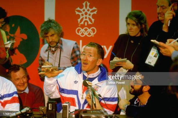 Portrait of Ski Jumper Eddie Edwards of Great Britain during a press conference at the 1988 Winter Olympic Games in Calgary, Canada. \ Mandatory...