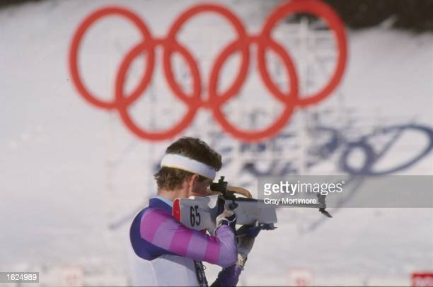 Sylfest Gumsdal of Norway takes aim during the shooting section of the 20 kilometre Biathlon event at the 1988 Winter Olympic Games in Calgary Canada...