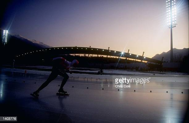 General view of a competitor in action during the women''s 1000m speed skating competition during the 1992 Winter Olympic Games in Albertville,...