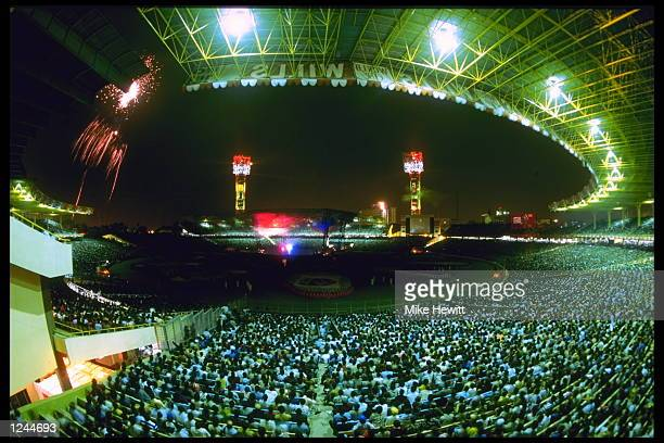 A view of the opening ceremony of the cricket world cup in calcutta India