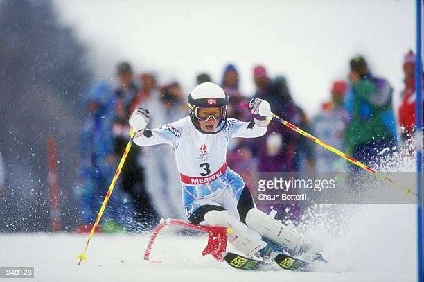 Anne Berge of Norway skis downhill during the ladies combined slalom during the Olympic Games in Albertville, France. Mandatory Credit: Shaun...