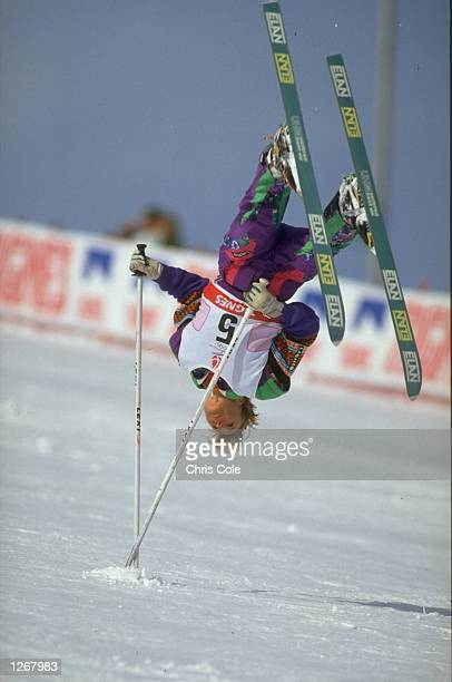 Annika Johansson of Sweden in action during the Ski Ballet event at the 1992 Winter Olympic games in Albertville France Mandatory Credit Chris...