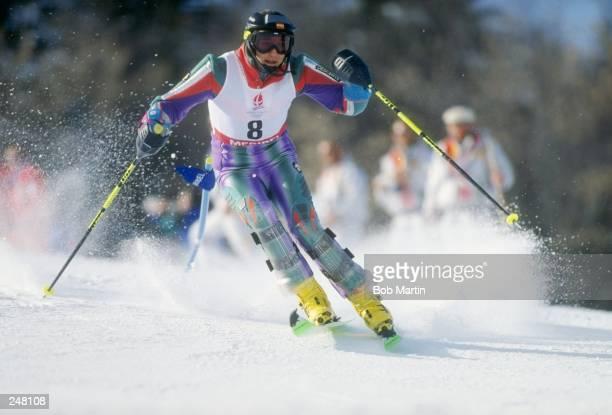 Blanca Ochoa Fernandez of Spain skis downhill during the women''s slalom during the Olympic Games in Albertville, France. Mandatory Credit: Bob...