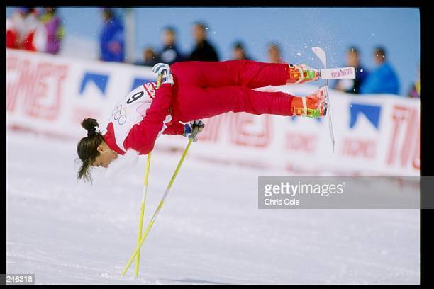 Cathy Fechoz of France does her routine during the ski ballet competition at the Olympic Games in Albertville France Mandatory Credit Chris Cole...