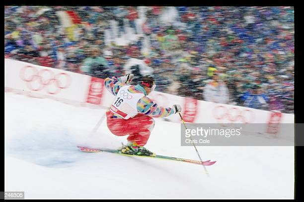 Edgar Grospiron of France skis down the hill during the men''s freestyle moguls during the Olympic Games in Albertville, France. Mandatory Credit:...