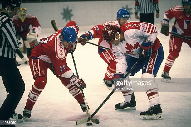 Eric Lindros of Canada in action during the Ice Hockey match against the Czech Republic during the 1992 Winter Olympic Games in Albertville France...