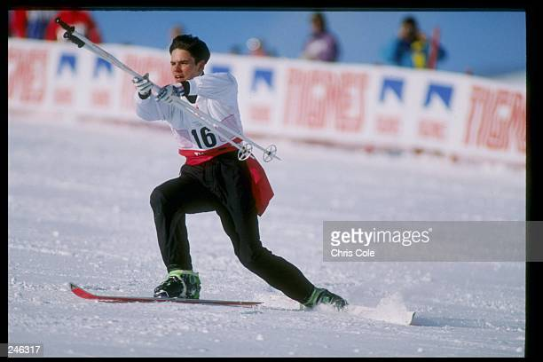 Fabrice Becker of France does his routine during the ski ballet competition at the Olympic Games in Albertville France Mandatory Credit Chris Cole...
