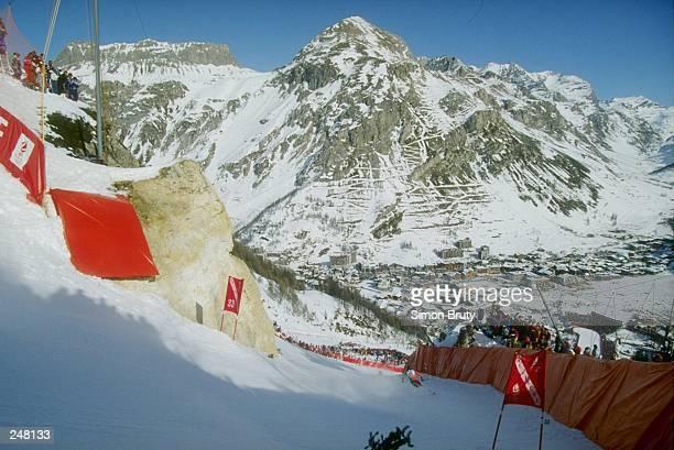 Franck Piccard of France skis downhill during the men''s downhill during the Olympic Games in Albertville France Mandatory Credit Simon Bruty...