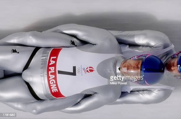 General action of the luge event at the 1992 Winter Olympics in Albertville France Mandatory Credit Mike Powell /Allsport