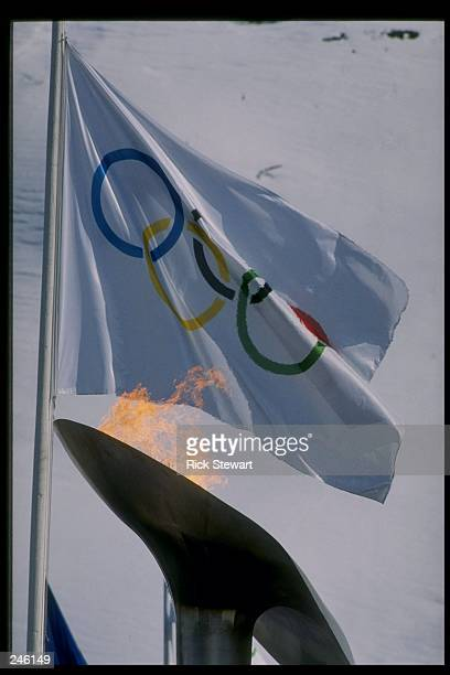 General view a flag flying during the four man bobsled event at the Winter Olympics in Albertville France