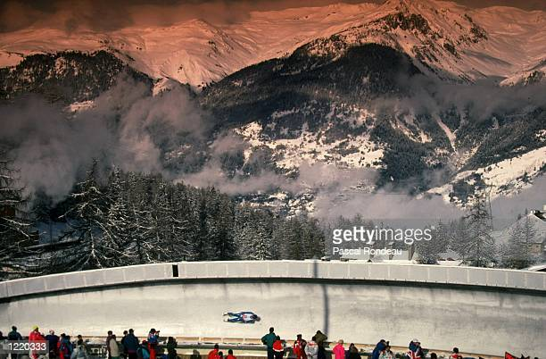 General view of a competitor in action during the Men's Single Luge event during the 1992 Winter Olympic Games held in Albertville, France. \...