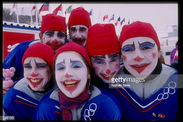 General view of fans enjoying the Winter Olympics in Albertville, France.