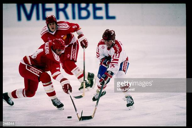 General view of the action during a game at the Olympic Games in Albertville, France. Mandatory Credit: Mike Powell /Allsport