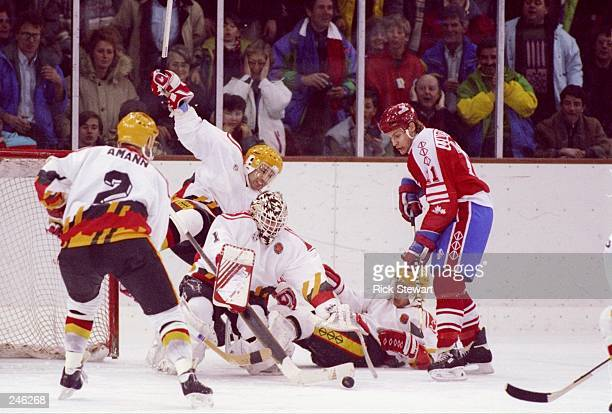 General view of the action during a game between Canada and Germany during the Olympic Games in Albertville France The teams tied at 33 Mandatory...