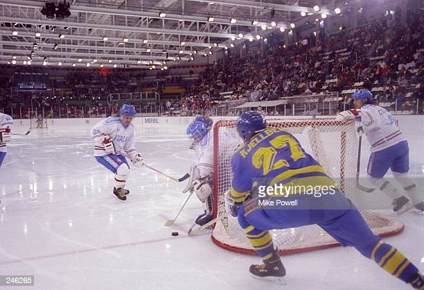 General view of the action during a game between Sweden and Italy during the Olympic Games in Albertville France Sweden won the game 73 Mandatory...