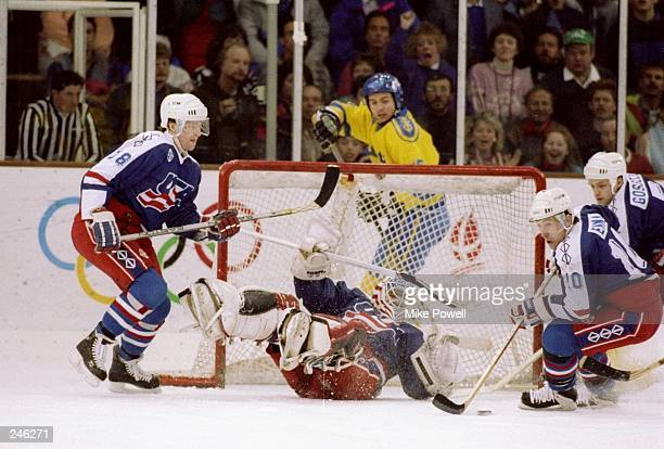 General view of the action during a game between the USA and Sweden during the Olympic Games in Albertville France The teams tied at 33 Mandatory...