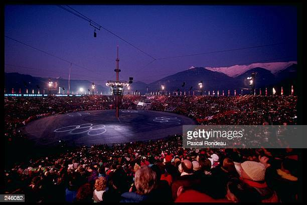 General view of the closing ceremony for the Winter Olympics in Albertville, France.