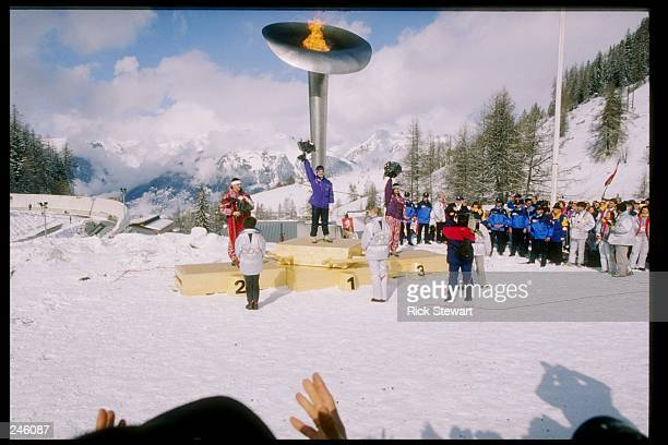 General view of the medal ceremony for the men''s single luge event during the Winter Olympics in Albertville France