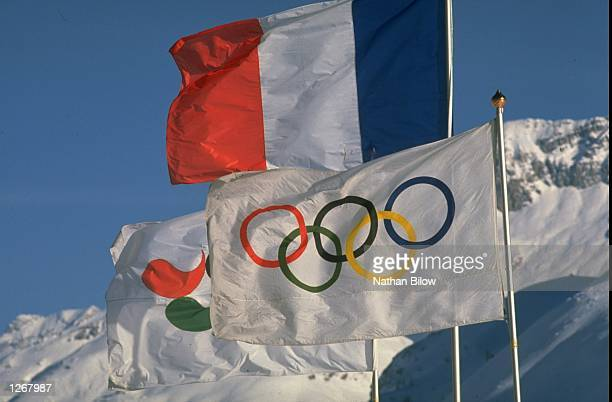 General view of the Olympic flag during the 1992 Winter Olympic Games in Albertville France Mandatory Credit Nathan Bilow/Allsport