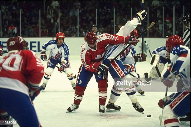 General view of the players in action during the Ice Hockey match between Canada and France at the 1992 Winter Olympic Games in Albertville, France....