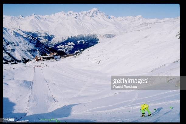 General view of the speed skiing mountain during the Olympic Games in Albertville France Mandatory Credit Pascal Rondeau /Allsport