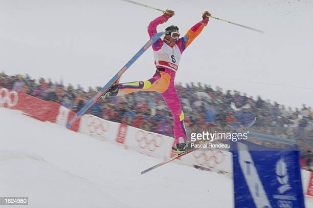 Jurg Biner of Switzerland at full stretch after a jump in the Mens Freestyle Moguls event at the 1992 Winter Olympic Games in Albertville France...