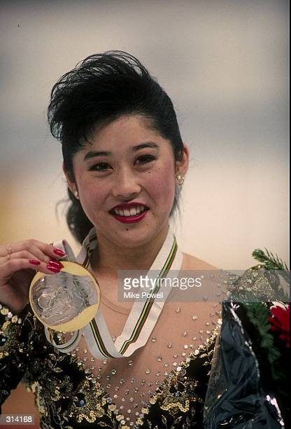 Kristi Yamaguchi of the United States looks on during the Olympic Games in Albertville, France.