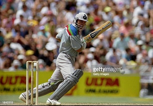 Martin Crowe of New Zealand on his way to an unbeaten century in the World Cup match against Australia at Eden Park in Auckland New Zealand New...
