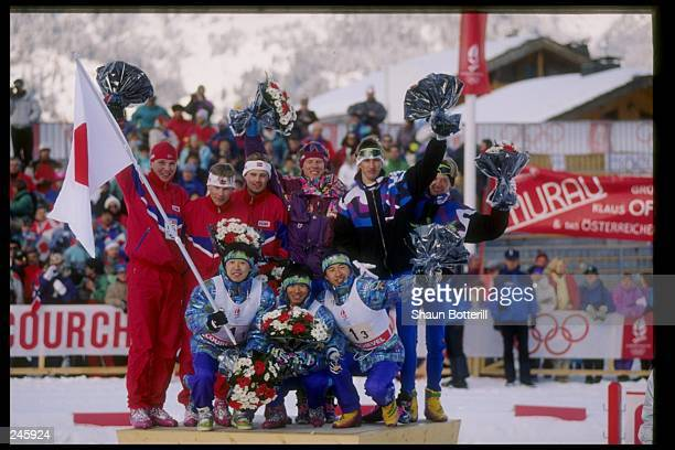 Members of the Nordic combined team poses for a picture during the Olympic Games in Lillehammer, Norway. Mandatory Credit: Shaun Botterill /Allsport