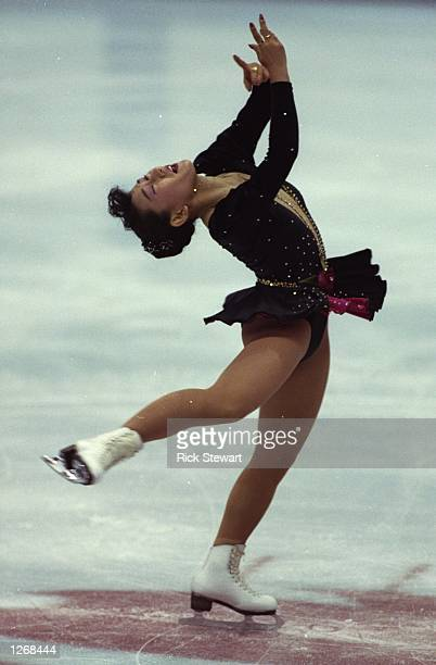 Midori Ito of Japan in action during the Women's Figure Skating event at the 1992 Winter Olympic Games in Albertville, France. Ito won the silver...
