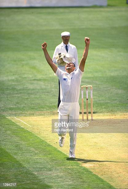 Murphy Su''a of New Zealand celebrates after bowling Allan Lamb of England to take his first Test wicket during the Second Test match at Eden Park in...